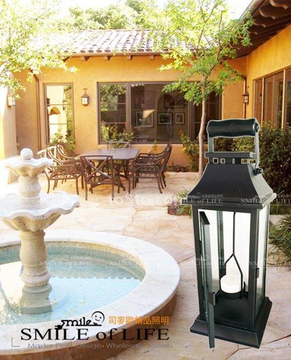 歐式黑色鐵藝 玻璃複古風燈浪漫創意燭台擺件 馬燈道具S42 (小) ☆SMILE 創意商品批發