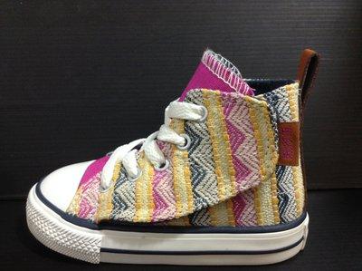 CONVERSE All Star 高筒帆布鞋 孩童 小童 民族風編織款 側面黏貼設計 尺寸:6~10 女孩兒款