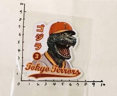 哥吉拉 棒球 TOKYO TERRORS 浮世繪 防水 貼紙 非 基多拉 黑多拉 摩斯拉  全新未使用