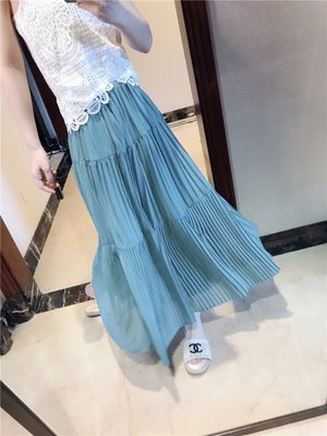 無分店 巴黎小時光一間老店~免運費+附發票~ CM 百褶裙的愛 垂垂大裙擺美美湖藍色裙