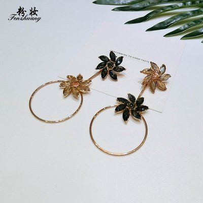 FEI日韓代購~粉妝925銀針耳釘花朵圓環歐美夸張大耳環氣質韓國個性潮人耳飾品
