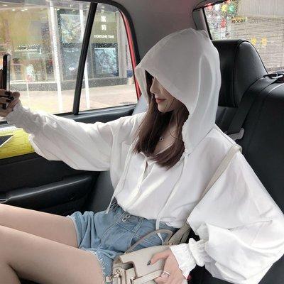 小香風 短袖T恤 時尚穿搭 帶帽很仙的防曬衣洋氣超仙百搭心機上衣女設計感小眾時尚襯衫