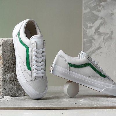 20S Vans Vault OG Style 36 皮革 米白 綠線 短頭 百搭 GD 休閒 滑板 男女鞋