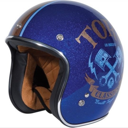 (I LOVE樂多)美牌TORC T50 PISTON HEAD 活塞舊化打印 亮片藍 4/3安全帽