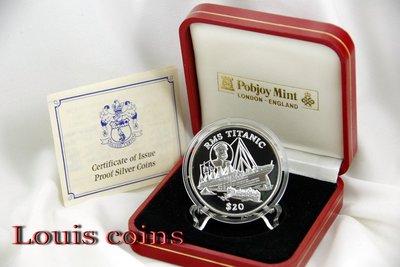 【Louis Coins】F033‧Liberia‧1998賴比瑞亞‧鐵達尼號紀念精鑄銀幣