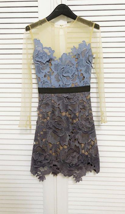 SelfPortrait 裸膚雪紡珍珠釦透視長袖拼接靘藍水藍蕾絲洋裝