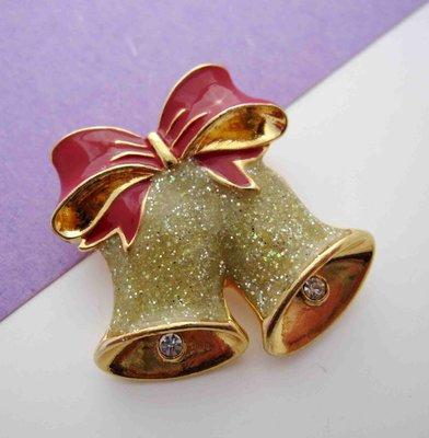 【戴大花2】經典【Avon SH】Xmas 溫馨季節 紅色蝴蝶結  小鑽  聖誕鈴鐺  別針  #B111