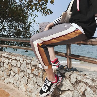 港風春季男士撞色條紋休閑褲韓版寬松潮流學生百搭新款九分哈倫褲