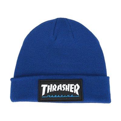 [CABAS滑板店] THRASHER LOGO PATCH BEANIE 藍│毛帽 滑板 品牌