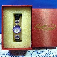 【水晶錶】全新絕版 鱷魚錶 (八邊紫框白面) 水晶錶帶手圍可調整 附盒 尺寸:9*3.5*2.5㎝ 重量:90g
