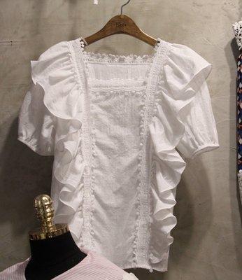 優雅蕾絲拼接荷葉袖白色襯衫 Born again 【boa0079】