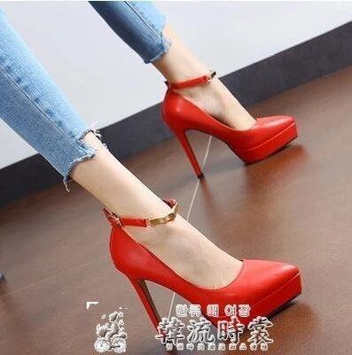 跟鞋春季新款尖頭一字搭扣超高跟鞋細跟厚...