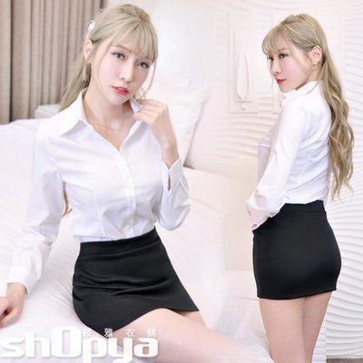OL套裝 OL長袖白襯衫+包臀窄裙 辦公制服 秘書服 筱雅衣舖【BA1040】