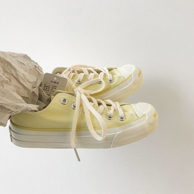 小尤家~開口笑帆布鞋女復古港味潮春季新款學生韓版ulzzang百搭板鞋