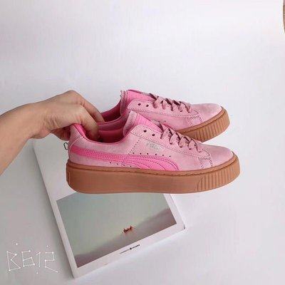 D-BOX Puma Basket Suede 粉色 玫紅 厚底 時尚百搭 板鞋 女休閑鞋