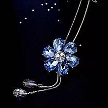 天藍色水晶百合長頸鏈 (型號:JP-NL-0004) 全店飾物購滿100元 *包【順豐】運費*