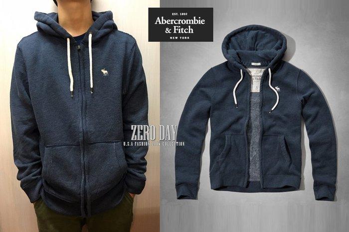 【零時差】A&F Abercrombie&Fitch MARBLE MOUNTAIN HOODIE麋鹿連帽外套-藍色