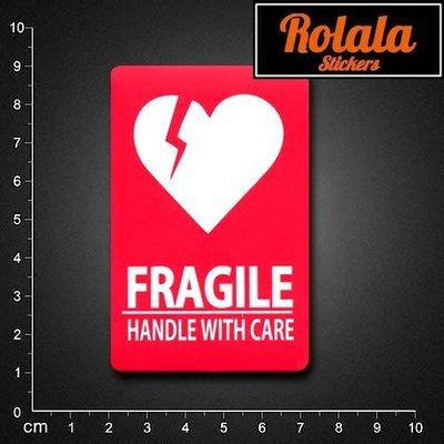 ROLALA【S276】PVC防水潮流貼紙-愛心警示《買4送1》單張行李箱貼托運行李紅色FRAGILE易碎標誌警告注意