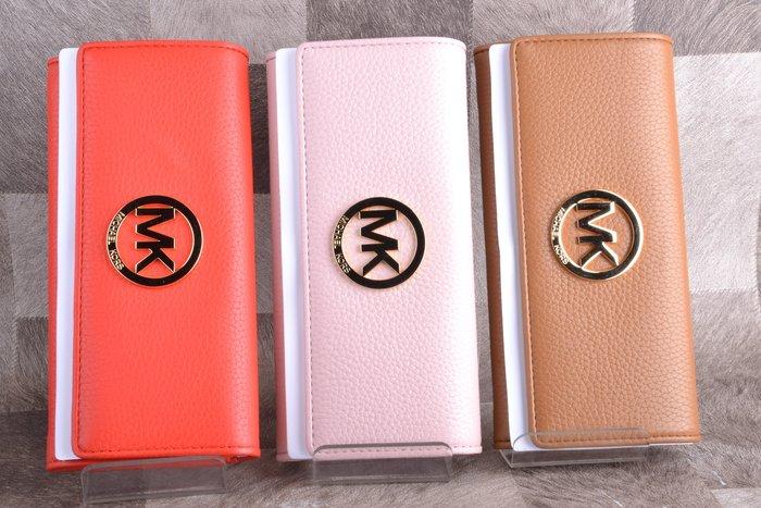 全新品 Michael Kors MK 扣式長夾 大MK LOGO 粉色 寄賣品 #63978