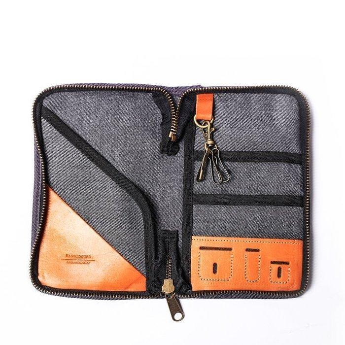 點子包 iclea X bag │二代真皮個性飛行護照夾 護照套 簡約灰/單寧藍 DG20
