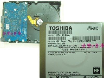 【登豐e倉庫】 F338 Toshiba DT01ACA200 2TB SATA3 硬碟擦擦 救資料 畫面雜線 桃園市