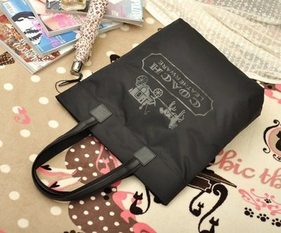 經典 COACH  大購物袋 防水尼龍 滿額贈品 托特包 側背包 肩背包  (歐廠僅出黑色)