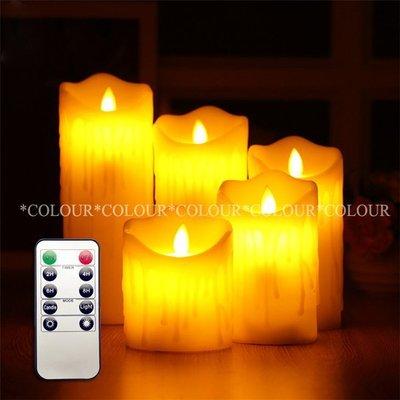【高10.12.15CM組合包】10鍵遙控 直徑7.5cm 流蠟款LED電子蠟燭 仿真蠟燭燈※COLOUR歐洲生活家居※