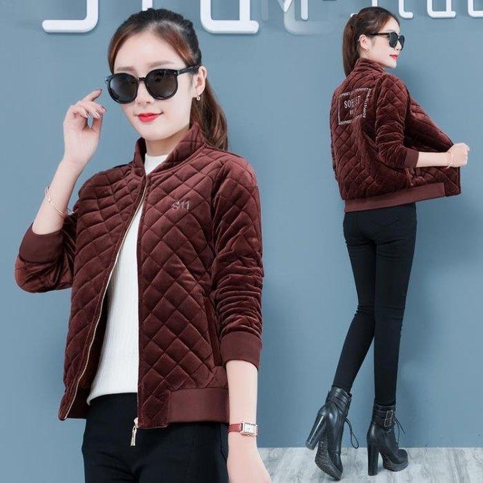 金絲絨棉衣女冬季新款韓版時尚短款加厚女士輕薄小棉襖外套潮