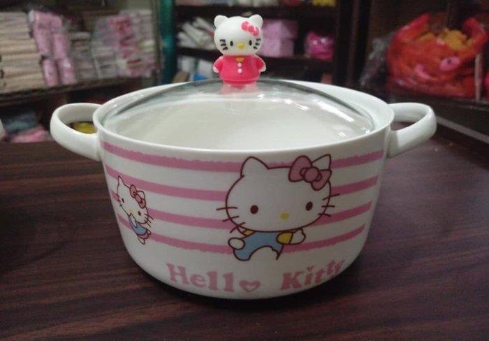 新款雙耳kitty加厚陶瓷大湯碗(外盒包裝有壓到不介意再下單)