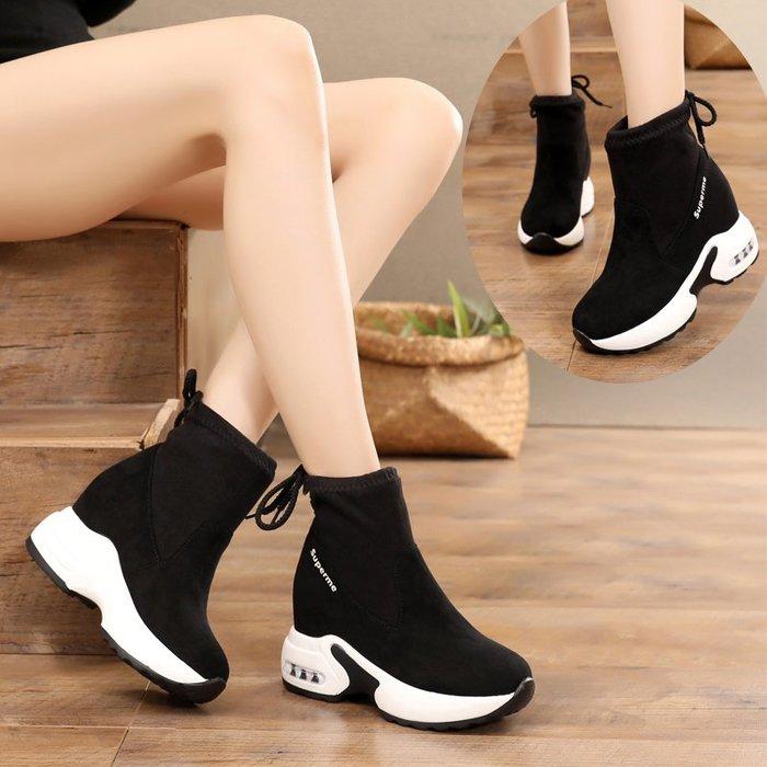 厚底鞋 內增高 楔型鞋 運動鞋 小個子必備 秋冬季靴子女短靴馬丁靴內增高短筒厚底8cm學生百搭加絨保暖短靴