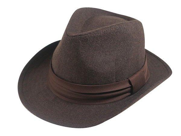 表演團體限定/經典時尚風格☆ 優質造型(寬邊)紳士帽/黑色三折帶爵士帽/禮帽男式英倫紳士帽子-深咖/駝色