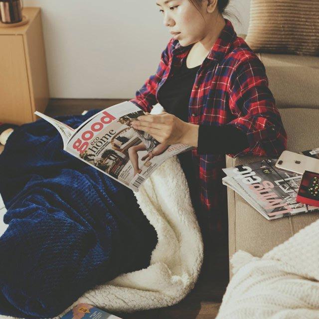 Warm Warm羊羔絨毯/毛毯【寶藍】150×200cm-絲薇諾