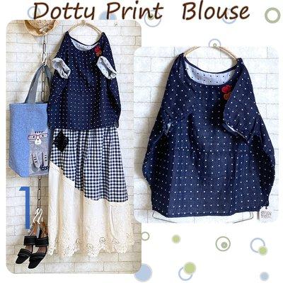 日貨Dotty Print Blouse 圓弧氣球剪裁蝴蝶結棉紗衫-點點深藍Size F (M~L)