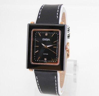 【 幸福媽咪 】網路購物、門市服務 BIBA 碧寶錶 陶瓷框 皮錶帶 石英女錶 黑色 B31PC022P 新北市