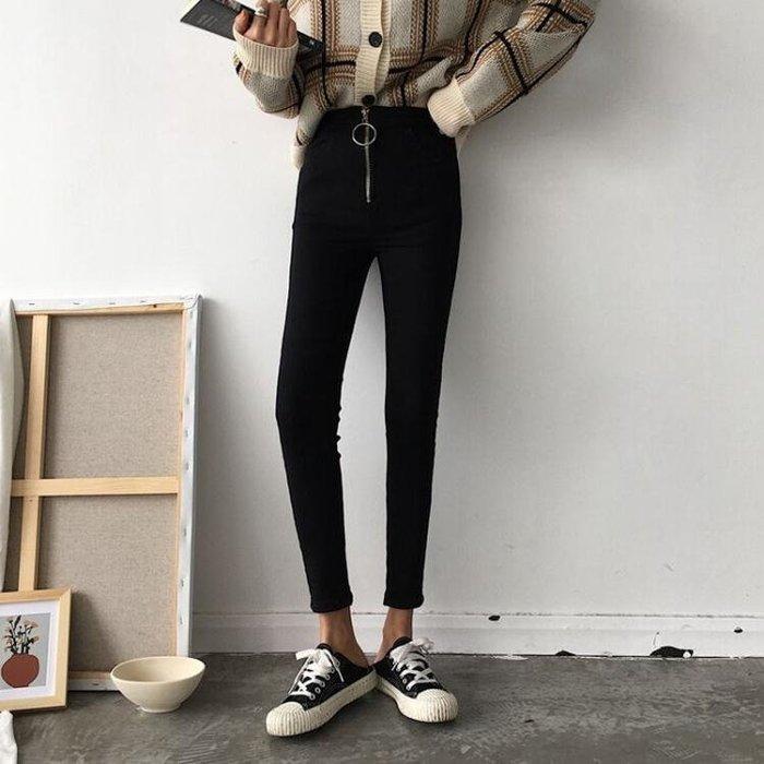 薄款打底褲女外穿2018新款秋季韓版修身顯瘦圓高腰小腳九分褲子