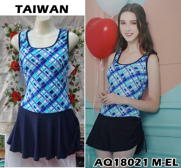 Kini奧可那 台灣製大女泳裝AQ18021*連身裙 藍紫格紋深藍裙 萊卡 背加高 M-EL-特價1340元