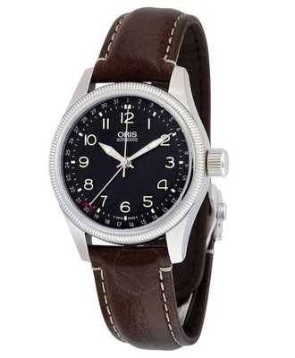 ORIS 機械錶 大錶冠 指針日期 黑色錶盤 棕色皮革 男士手錶 754-7679-4034LS 公司貨保固內