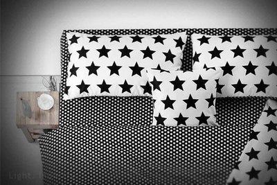 【 輕工業家具 】星星黑白純棉床包四件套組-100%高級精梳棉幾何枕頭棉被套拼接床單人雙人床組4來自 新北市