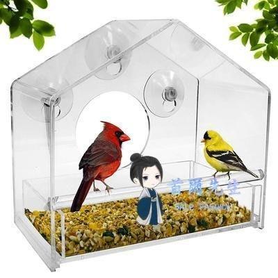 餵鳥器 壓克力餵鳥器 透明亞克力窗口餵鳥器有機玻璃鳥籠帶行動食盤~陶陶百貨