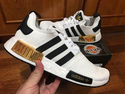 【 鋒仔球鞋】ADIDAS NMD R1 BOOST  白色 黑色 金色 透氣  網布 百搭 休閒 慢跑鞋 EG5662