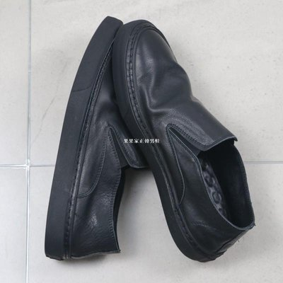 果果家正韓男鞋簡約四季軟底全黑色板鞋一腳蹬便鞋 植鞣牛皮休閒鞋球鞋|輕薄透氣