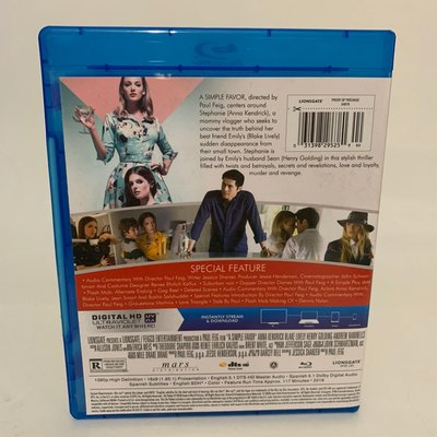 一個小忙A Simple Favor失蹤網紅/小心幫忙藍光碟BD高清1080P電影 中字字幕 全新盒裝