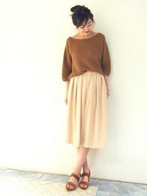 【現貨】日本品牌 Spick and Span 美麗弧度袖子 焦糖色針織衫