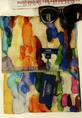 喀什米爾名牌圍巾披肩100%cashmer國際品牌GOBI印象派藝術風[設計師輕薄款]200*65 台北市