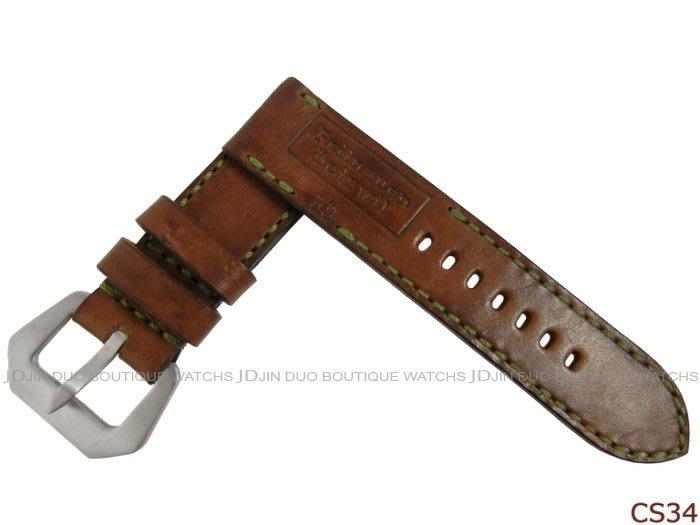 金鐸精品~CS34 沛納海 PANERAI 1939年瑞士彈藥帶牛皮特製手工皮錶帶