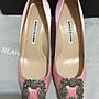 MANOLO BLAHNIK Hangisi 絲綢緞鑲鑽高跟鞋 粉色 37號