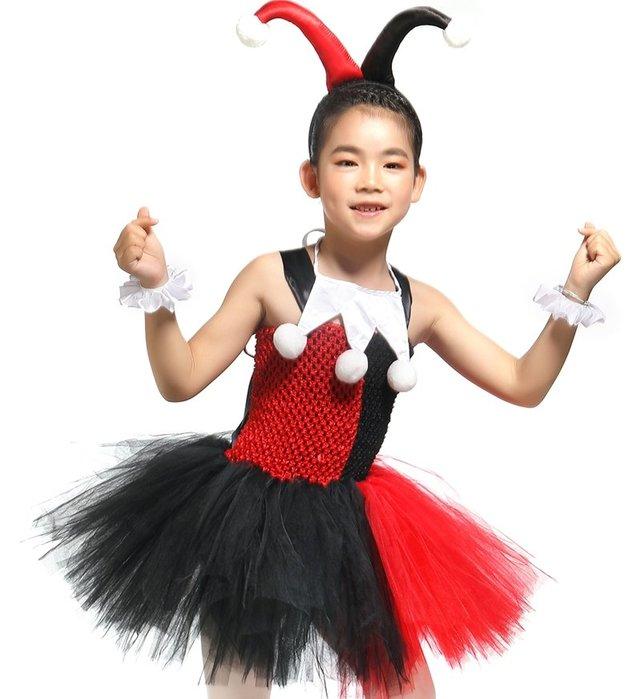 【小阿霏】中大童 含配件超值兒童萬聖節服裝 小丑女cosplay化裝舞會造型 女童tutu洋裝 CL215