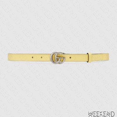 【WEEKEND】 GUCCI GG 皮革 腰帶 皮帶 2公分 粉紅色 黃色 409417