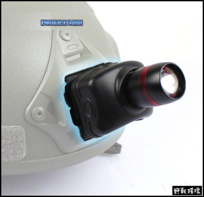 【野戰搖滾-生存遊戲】戰術頭盔專用Q5 LED 手電筒頭燈含轉接座【黑色】 Fast 盔照明燈 Mich 頭盔燈OPS盔