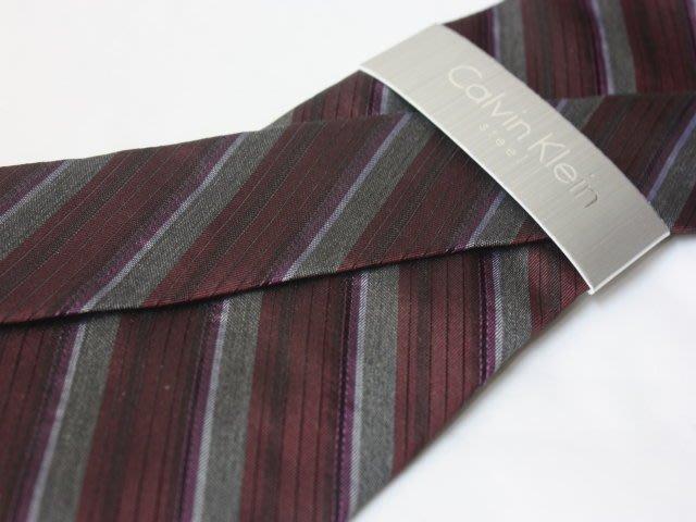 【Calvin Klein CK】100%全新正品 斜紋領帶-深紅灰【寬版8cm】*領帶兩條95折三條9折*C220